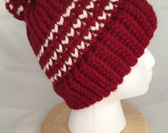 Chunky knit pom beanie