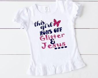 Newborn and Big Girls Glitter/Jesus Shirts