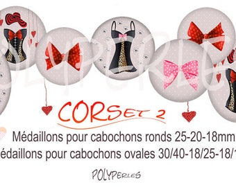 Collage digital round cabochons and CORSET 2 ovals