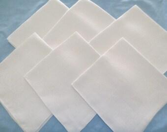 "6 Vintage Antique Linen Damask 20"" Napkins Eggshell White"
