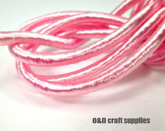 Wrapped silk cord, satin cord, pink, 2 meters