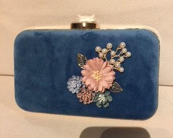 Blue Flannel Flower Clutch