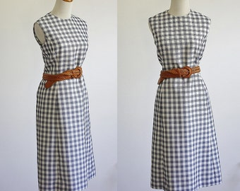 Vintage Plaid Dress, Shift Dress, Sleeveless Blue and White Dress, Plaid Checked Dress, Nautical Dress, Waffle Dress, Bust 38 Medium Large