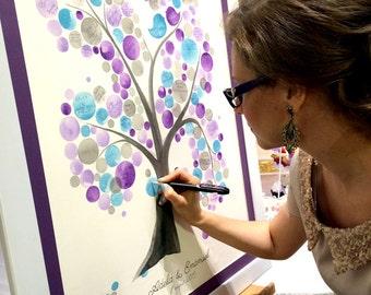 Real wedding tree Guest Book original painting - Wedding guest book signing Alternative watercolor artwork