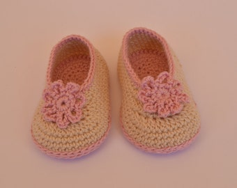 Style handmade crochet baby ballerinas shoes.