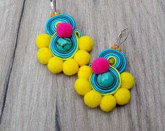 Pom Pom Earrings, Boho Earrings, Colorful Dangle Earrings, Soutache Earrings, Pompom earrings, Colorful Boho Jewelry