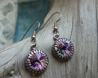 Pale Purple Swarovski Crystal Earrings