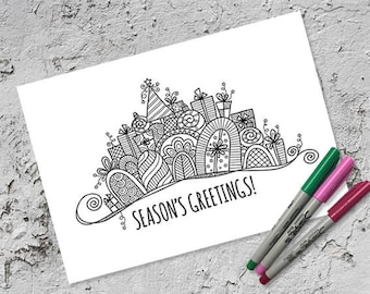 Christmas Banner Colouring Page | Instant Digital Download | Original Doodle Design