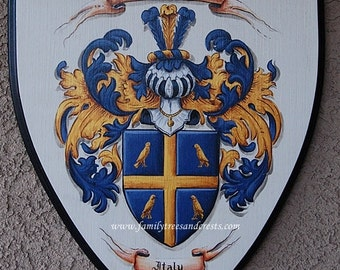 Custom Coat of Arms - Family crest painting on wooden plaque  12 x 14 inches