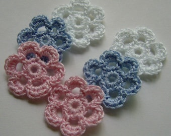 Mini Six Crocheted Flowers - White, Pink and Bridal Blue - Cotton - Crocheted Appliques - Crocheted Embellishments
