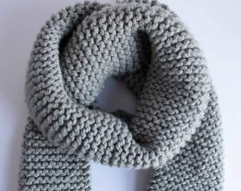 Chunky Knit Scarf - Light Gray