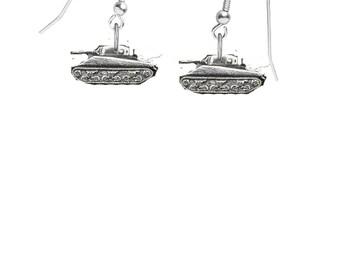 Sherman Tank on hook Earrings sterling silver 925 jewellery jewelry code TS11