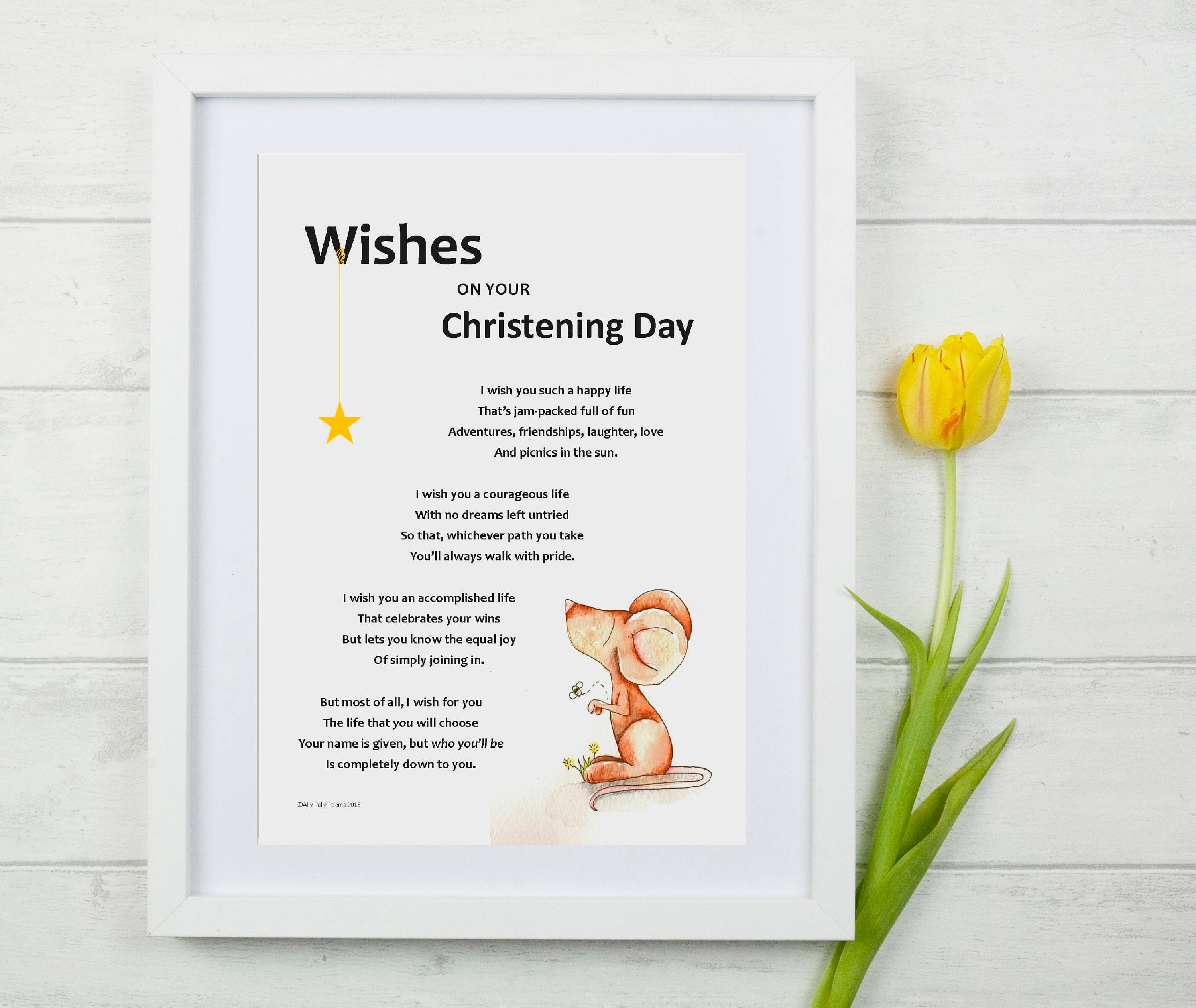 Wishes on your christening day illustrated poem unique baby zoom kristyandbryce Choice Image