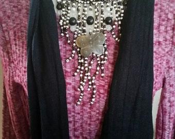 Beaded Jewelry Scarf Necklace, Jewelry scarf, Jeweled Scarf, Fashion Scarf, Beaded Scarf, Pendant Scarf, Bib Jewelry Scarf