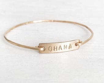 Bar Bangle, Personalized, handstamped