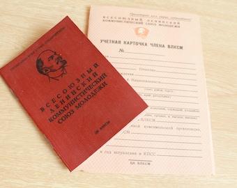 Soviet Vintage Komsomol card &  record-card / clean and new / communism