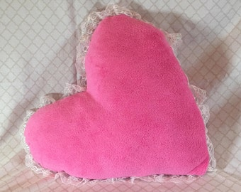 Plush Fleece Heart Pillow with Lace Trim  Pink both sides   Handmade