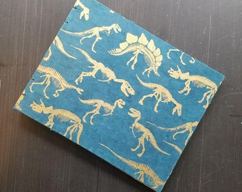 8x10 Sketchbook Coptic Stitch with Dinosaur Cover and Stonehenge Paper