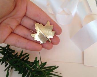 Leaf Brooch - Leaf Pin - Gold Leaf Pin - Gold Leaf Brooch - Maple Leaf - Brooch - Nature Brooch - Gold Brooch - Leaves - Leaf Jewelry - Gift