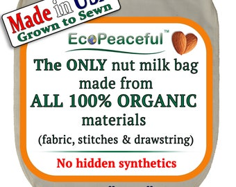 """Irregular Organic Nut Milk Bags (12x13) - Video bellow about others Fake """"Organic"""" Bags. All materials made from certified organic cotton"""