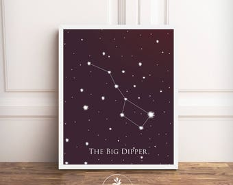 The Big Dipper, Constellation, black and white, Instant Download, Digital Illustration, Modern, printable poster, digital download, galaxy
