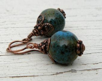 Teal and Copper Earrings, Blue Green Ceramic Bead Dangles, Bohemian Style Jewelry, Southwestern Jewelry, Boho Earrings