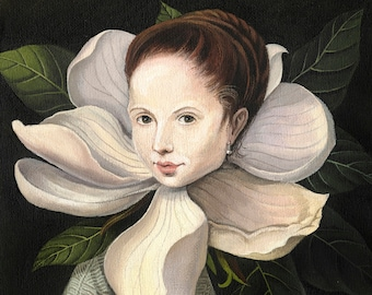 Plant lady gift for mom Magical print of original painting Classical victorian portrait Magnolia artwork Whimsical flower wall art Botanical