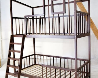Bunk double loft bed with bars