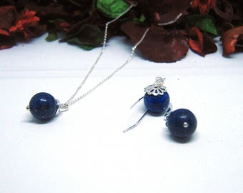 Pendant necklace/earrings jewellery set,Lapiz Lazuli pendant,Blue bead pendant,Blue earrings,Handmade jewellery gift set,Birthday gift set
