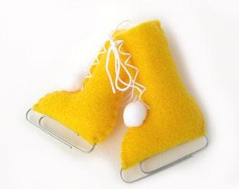 Felt Ice Skates Christmas Ornament Home Decor Gold Yellow Christmas Eco-Friendly