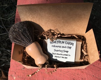 Shaving Soap Gift Box - 1 bar of Oakmoss and Clay Shaving soap in gift box with a badger shaving brush