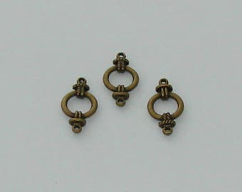 1 Connecteurs cercle couleur bronze antique - Réf: CB 1000