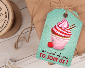Cupcake Favor Tag, Cupcake Thank You Tag, Cupcake Party Favor INSTANT DOWNLOAD you personalize at home