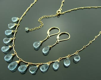 Sky Blue Topaz 14k Gold Filled Necklace and Leverback Earrings Set
