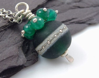 Lampwork Glass and Green Onyx Pendant with Silver Chain - StoneGems