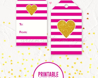 Valentine's Day Gift Tags Printable - heart gift tags, gift tags, tag printable, valentine printable, galentine printable, instant download