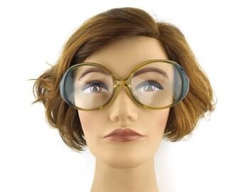 vintage. glasses. drop frame. teal. blue. green. eye glasses. round glasses. german. germany. vintage glasses. drop arm frame. ombre