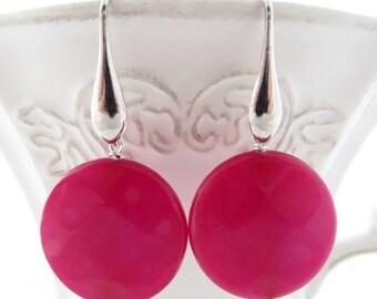 Hot pink stone earrings, jade earrings, sterling silver 925 earrings, dangle earrings, coin earrings, contemporary jewelry, italian jewelry