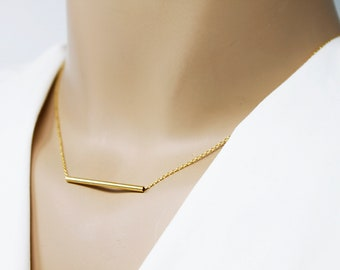 Gold / Silver Thin Bar Necklace . Dainty Gold Tube Bar Necklace Simple and Modern Necklace Bridesmaid Gift