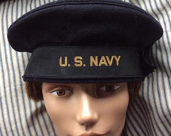 US NAVY BERET  vintage military hat, uniform, wool, ribbon, sailor cap