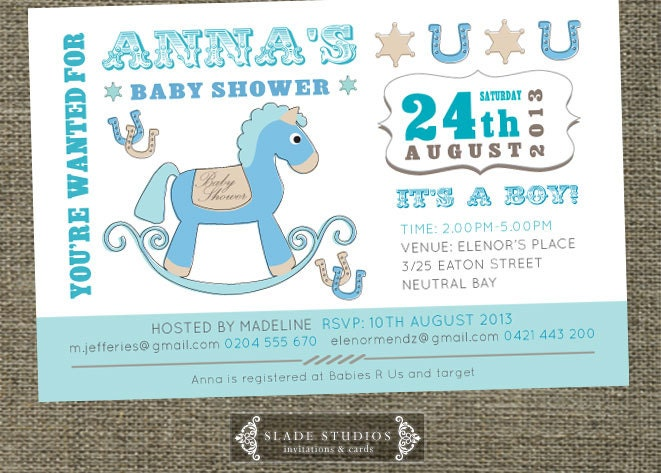 Vintage rocking horse baby shower invitations printable zoom filmwisefo