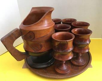 Vintage Carved Wood Pitcher Tray and Six Goblets