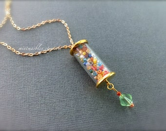 Miniature Glass Tube of Rainbow Glass Sprinkles. Gold. Green. Gum ball Machine. Gold Chain. Under 25 Gifts Colorful. Whimsical. Glass Beads.
