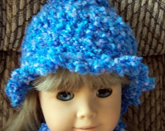 American Girl Hat and Scarf Crochet Pattern for your 18 inch doll - Instant Download