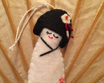 Felt Kokeshi Ornament - White with Red Flowers