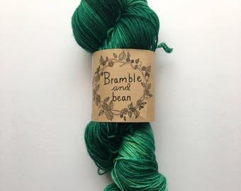 Hand Dyed Sock Yarn, Superwash Merino Wool - Greenery (Ready to ship)
