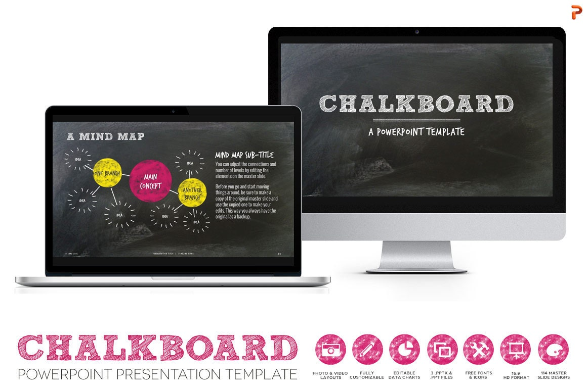 Chalkboard Powerpoint Presentation Template: for Creative