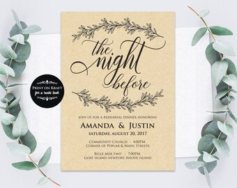 Rehearsal Dinner Template, The Night Before, Printable Rehearsal Dinner Invitation, Microsoft Word Format (docx), Instant Download, Editable