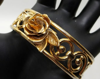 Vintage 1950's Signed Coro Gold Tone Rose  and Scroll Cuff Bracelet