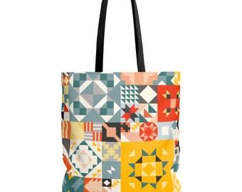 Tote Bag - Colorful tote bag - Bag - Day bag - Tiles bag - Shopping bag - Cheap bag
